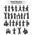 monochrome doodle daily routine set vector image vector image