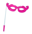 Pink theatrical mask icon cartoon style vector image