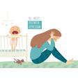 postpartum depression postnatal depression baby vector image vector image