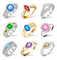 ring set with precious stones on white vector image vector image