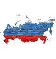 russia map on a brick wall vector image vector image
