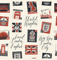seamless pattern on uk theme with postage stamps vector image vector image
