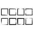 set grunge squares from brush strokes design vector image