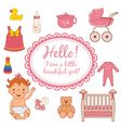 Set icons of cute baby girl vector image