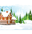snow covered cottage vector image vector image