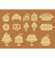 Sweet baked food silhouettes set vector image vector image