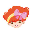 sweet little girl face with pink ribbon in hair vector image vector image