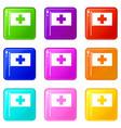 switzerland flag icons 9 set vector image vector image