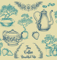 tea and coffee seamless pattern table cloth vector image vector image