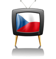 The flag of Czech Republic inside the television vector image