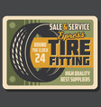 tire fitting banner of car service or repair shop vector image vector image