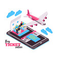 travel airplane isometric design concept vector image vector image