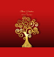 tree life art deco style golden christmas vector image
