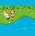 two happy girls by the river vector image vector image