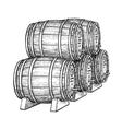 Wine or beer barrels vector image vector image