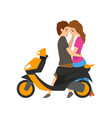young couple in love sitting on scooter and vector image