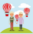 couple the old woman and man grandparents with air vector image