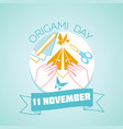 11 november origami day vector image
