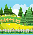 a beautiful green nature landscape vector image vector image