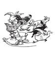 animals fleeing from bowl vintage vector image vector image