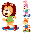 Animals skateboard vector image vector image