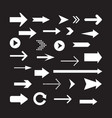 arrows set isolated on a black background arrow vector image