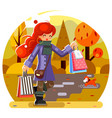 autumn shopping bag package girl purchase park vector image