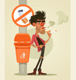 bad man character smoking under sign smoke vector image vector image