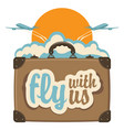 banner with planes suitcase sun and clouds vector image vector image