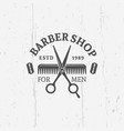 barber shop emblem with scissors vector image vector image