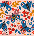 basic rgbpink seamless pattern with butterflies vector image