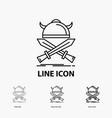battle emblem viking warrior swords icon in thin vector image vector image