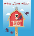 birdhouses with flying birds poster vector image vector image