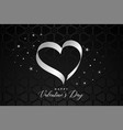 black background with ribbon heart for valentines vector image