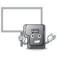 bring board button enter in shape mascot vector image vector image