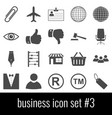 business icon set 3 gray icons on white vector image vector image