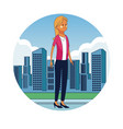 business woman in the city vector image