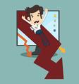 Businessman rising arrow down vector image