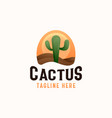 cactus plant in desert with sunset logo template vector image