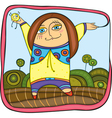carefree girl walking in park vector image