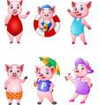 cartoon happy pigs collection set vector image vector image