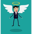 Cartoon man character in business suit with wings vector image