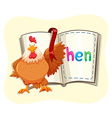 Chicken and opened book vector image