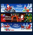 christmas banners santa with gifts on motorcycle vector image vector image