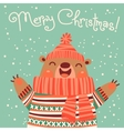 Christmas card with a cute brown bear vector image vector image