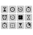 clocks icons set on grey time chronometer vector image