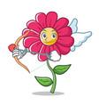 cupid pink flower character cartoon vector image vector image