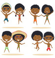 cute african-american couples jumping on the vector image vector image