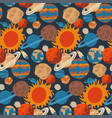 cute kids space seamless pattern on dark vector image