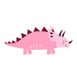cute triceratops isolated element funny dinosaur vector image